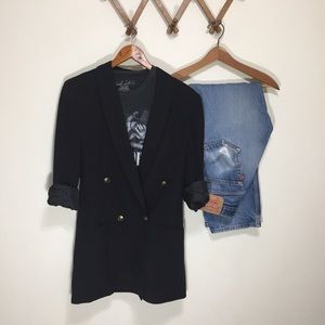 Vintage Black Wool Blazer